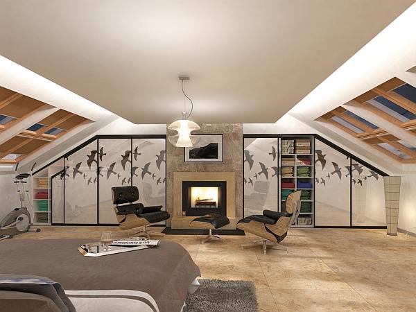 Nowoczesna sypialnia z kominkiem