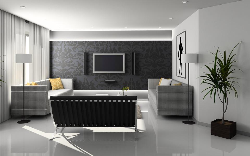 Stylowy salon z telewizorem